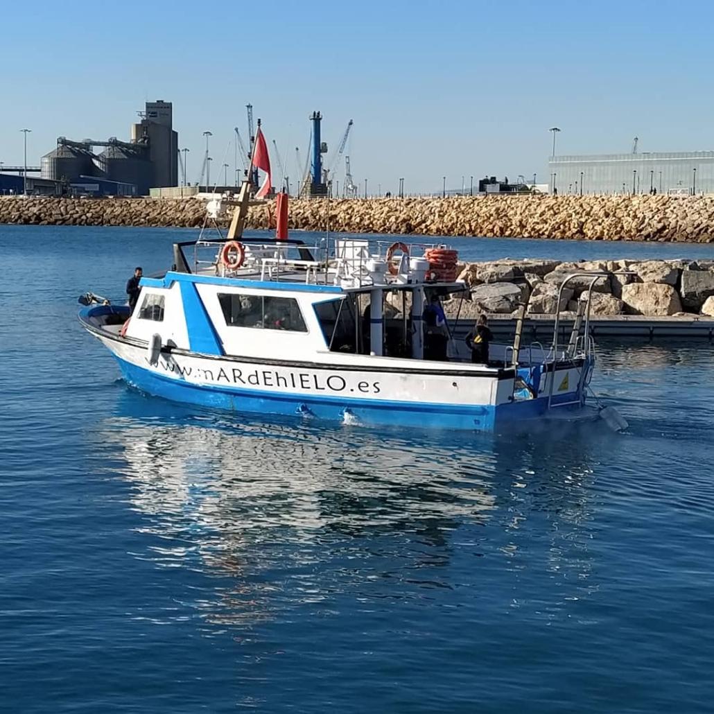 Pepita-lleva-a-los-buceadores-al-punto-de-inmersión en Tarragona